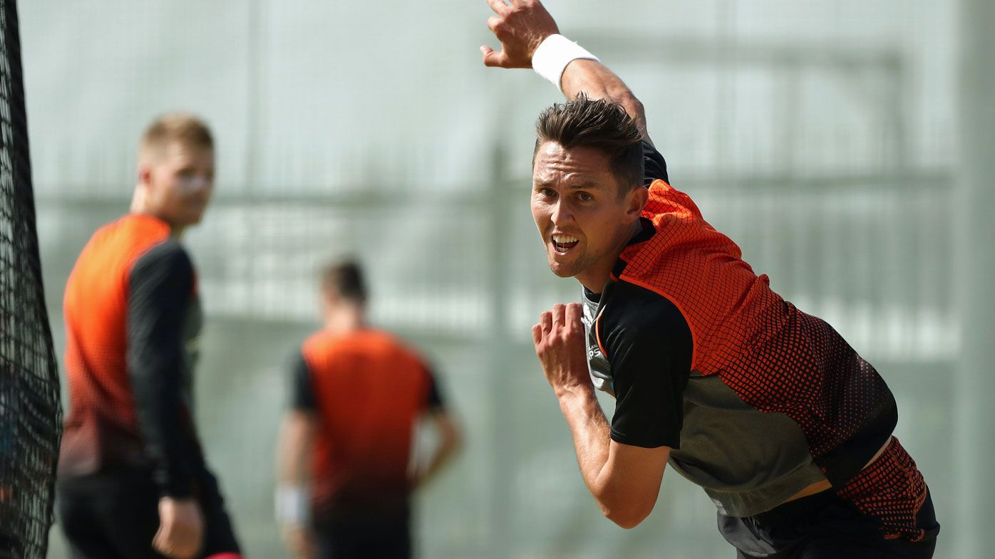 Trent Boult bowls during a New Zealand Test team training session