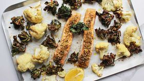 One pan dukka-crusted salmon with roasted kalettes & cauliflower