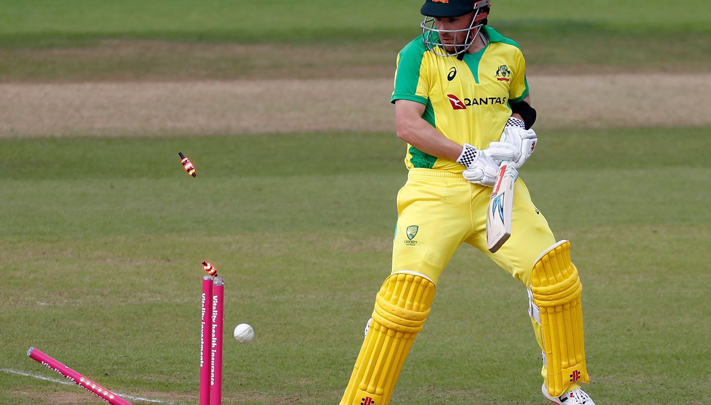 Aaron Finch is dismissed during the second T20 International against England.