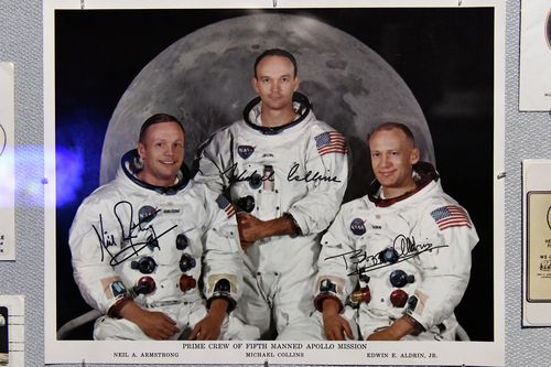 American astronauts Neil Armstrong, Michael Collins and Edwin Aldrin Jr. Apollo 11 commemorates the 50th Anniversary of the Moon landing.