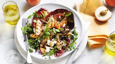 "Recipe: <a href=""https://kitchen.nine.com.au/2017/12/01/16/19/grilled-white-peach-radicchio-and-goats-cheese-salad"" target=""_top"">Grilled white peach salad</a>"