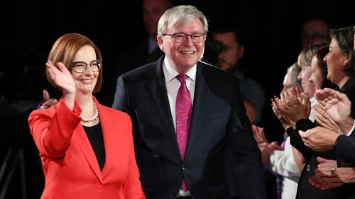 Former Australian Prime Ministers Julia Gillard and Kevin Rudd made a rare appearance side-by-side in public.