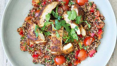 """Recipe:&nbsp;<a href=""""http://kitchen.nine.com.au/2016/05/04/15/35/nadia-lims-mexican-chicken-with-spiced-vegetable-coriander-and-lime-quinoa"""" target=""""_top"""">Nadia Lim's Mexican chicken with spiced vegetable, coriander and lime quinoa</a>"""