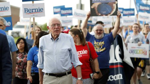 Bernie Sanders campaigning in Iowa, the crucial midwestern state that votes before any other place.