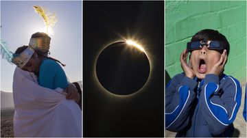 Skies put on spectacular show with total solar eclipse in Chile desert.