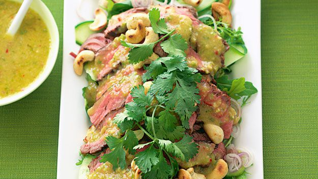 Spicy thai beef salad with nam jim dressing