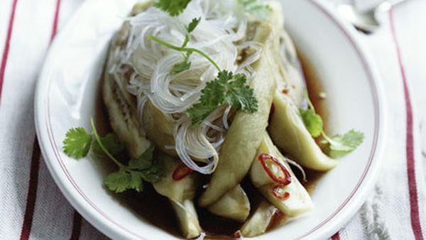 Steamed eggplant and harusame noodles