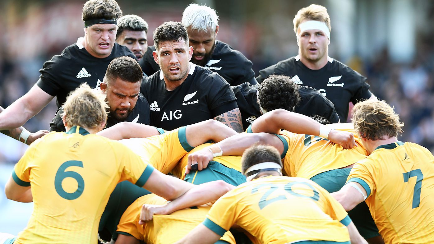 Codie Taylor of the All Blacks packs in a scrum