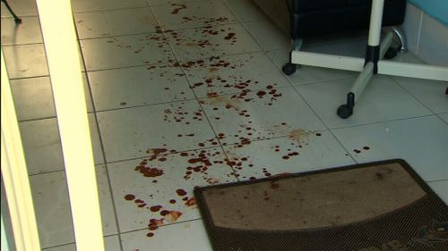 Blood on the floor of the Minto hair salon where Greenhalgh sought refuge. Picture: A Current Affair