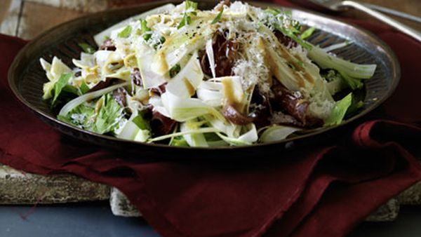 Shaved celery heart, anchovy and bresaola salad with mustard dressing