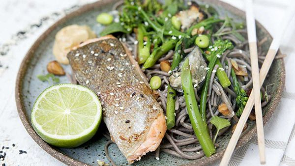 """Recipe: <a href=""""http://kitchen.nine.com.au/2018/02/26/10/00/salmon-and-gluten-free-soba-noodles-recipe"""" target=""""_top"""">Salmon with gluten free soba noodles</a>"""