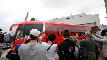 Fans at the Manchester United bus in Perth.