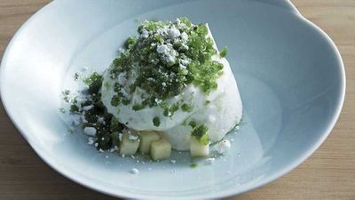 Supernormal's soft meringue, sheep's milk yoghurt, apple and shiso