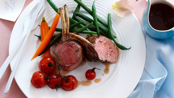 Glazed lamb rack