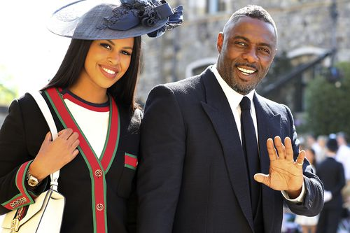 Idris Elba and Sabrina Dhowre arrive for the wedding . (AAP)