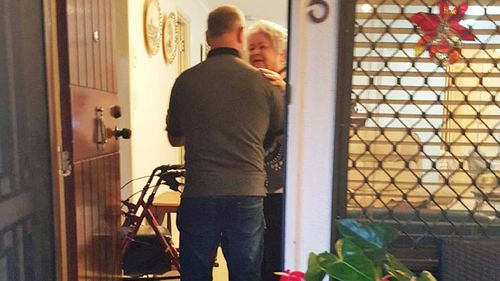Peter Moore meets his birth mother Ruth McMillan for the first time. (Photo: Peter Moore)