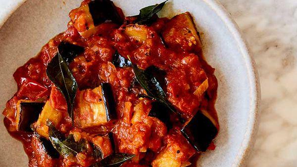Sarah Todd's eggplant curry with cumin rice