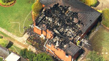 The fire consumed the brick home in Baulkham Hills.