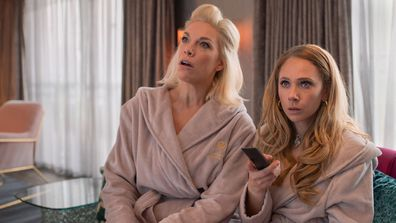 Hannah Waddingham (L) and Juno Temple on Ted Lasso