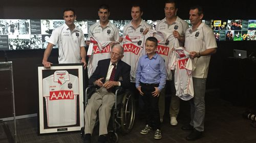 Mr Culkin with this year's State of Origin officials. (Mary Jordan/9news.com.au)