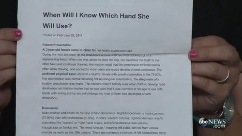 The letter compares left handers to the devil and says they are unlucky. (ABC News)