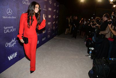 Talk about a showstopper! <br/><br/>We're not used to seeing Selena so covered up, but this vintage red jumpsuit is definitely an iconic look.
