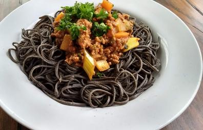 Black bean spaghetti with Bolognese sauce