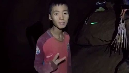 One of the boys trapped in the cave, in a photo taken last week. Picture: Supplied