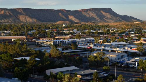 The skyline of Alice Springs, with Harvey Norman in the centre.