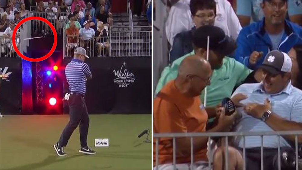 Fore! Fan almost impaled by broken driver