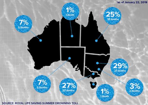 Australian drownings statistics summer 2018/2019