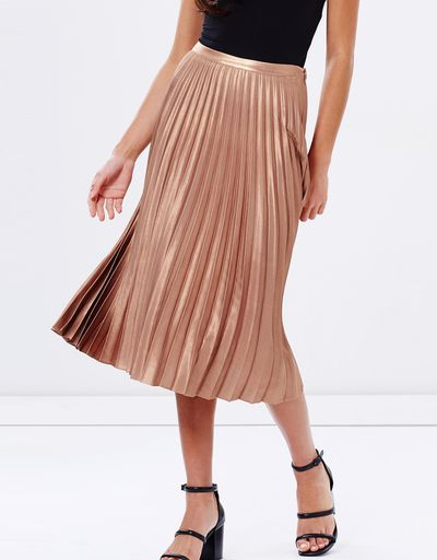 "<a href=""http://www.theiconic.com.au/foiled-pleated-midi-skirt-444484.html"" target=""_blank"">Miss Selfridge, foil pleated midi skirt, $99.95.</a>"