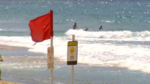 Warning signs on Newcastle beach.