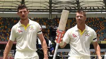 David Warner and Cameron Bancroft after winning the first Ashes Test