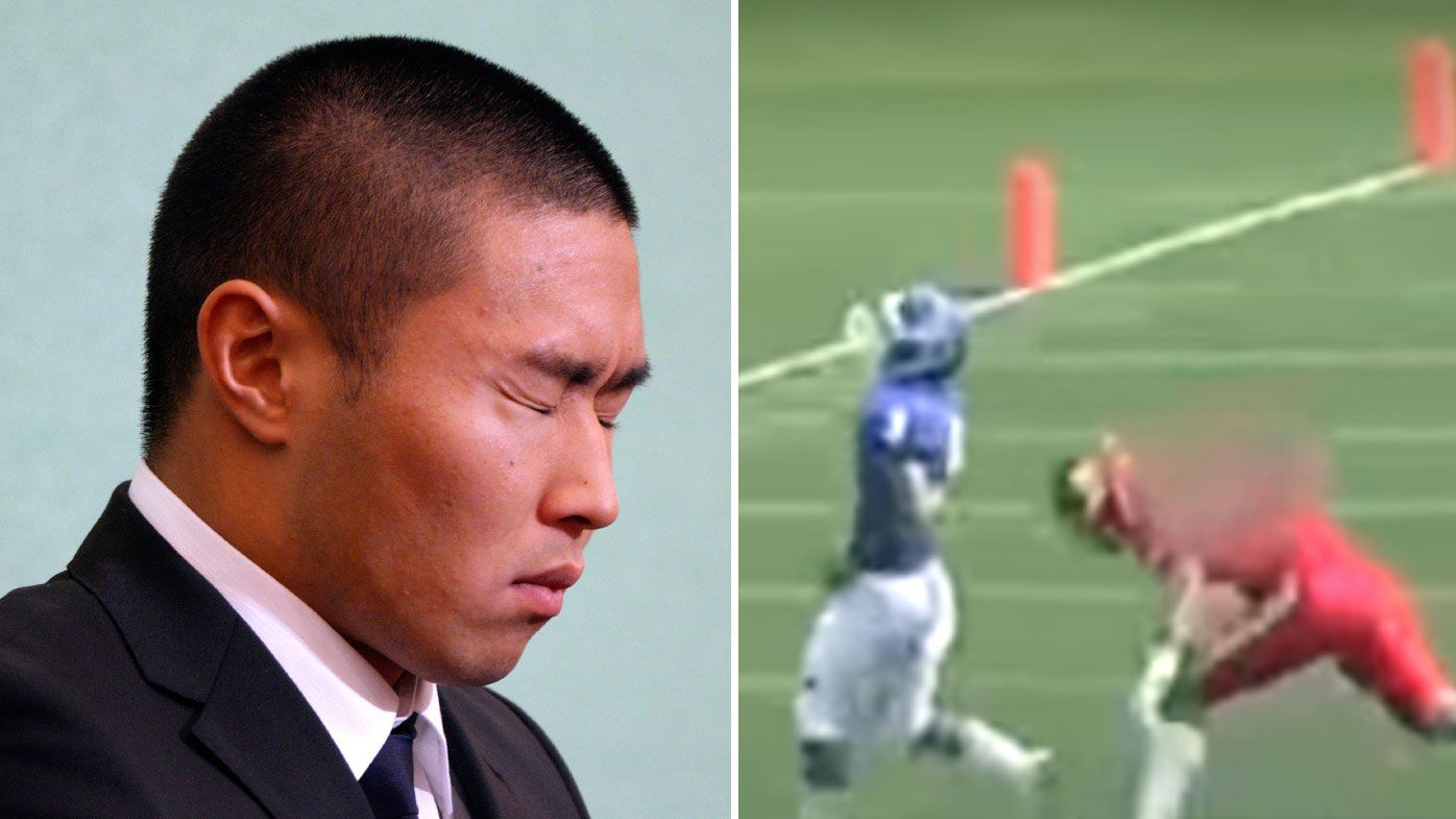 Japanese college footballer Taisuke Miyagawa apologises and bows for cheap shot tackle