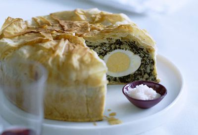 Ricotta, winter greens and egg pie