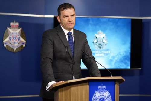 Victoria Police Homicide Squad Detective Andrew Stamper speaks to the media at the Victoria Police Centre in Melbourne. Picture: AAP