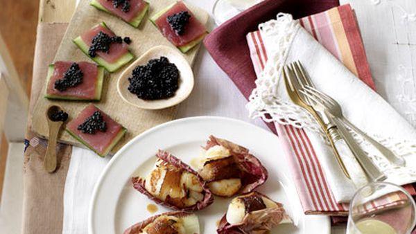 Raw tuna with cucumber and Avruga caviar