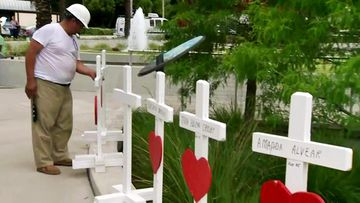 Greg Zanis inspecting the crosses he erected in honour of the Pulse nightclub shooting last weekend. (ABC13)