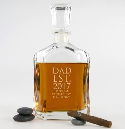 """<a href=""""https://personalisedfavours.com.au/engraved-deluxe-fathers-day-whiskey-decanter?gclid=EAIaIQobChMItPGv2dmD1gIVnQcqCh0lJAfXEAYYASABEgLxCvD_BwE"""" target=""""_blank"""">Engraved Deluxe Father's Day Whiskey Decanter, $59.95.</a>"""