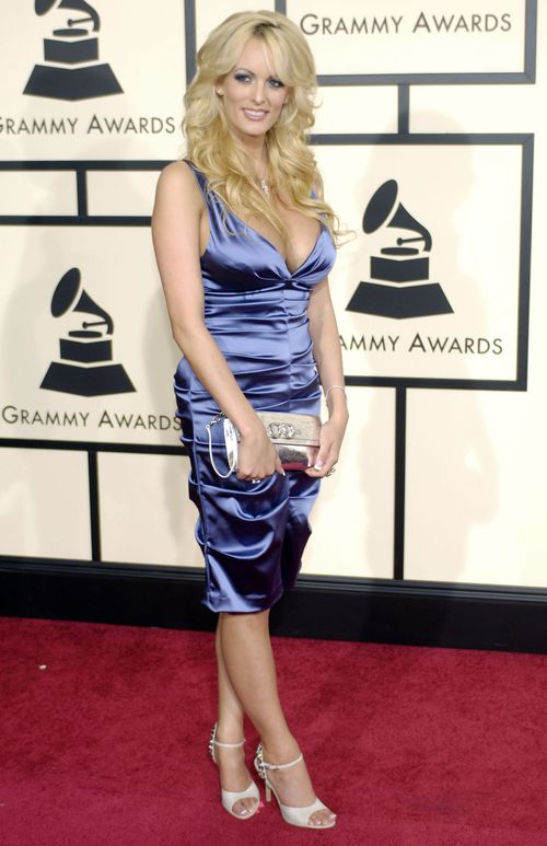 Stormy Daniels arrives at the 50th Annual Grammy Awards on Sunday, Feb. 10, 2008. (AAP)