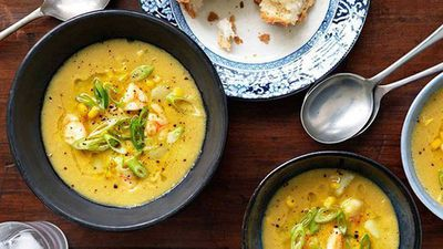 "This decadent <a href=""http://kitchen.nine.com.au/2016/05/16/12/03/velveted-prawns-with-sweetcorn-soup"" target=""_top"">velveted prawns with sweetcorn soup</a>  recipe is designed to be served hot, but cooled it's perfect for a hot evening. Make it in advance and then serve it at room temperature with the finishing drizzle of oil."