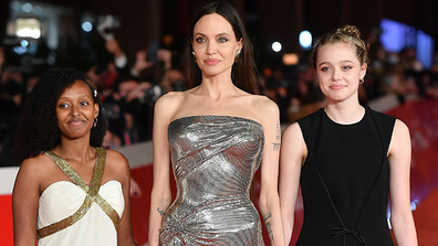 Angelina Jolie's teen daughters Zahara and Shiloh join her on red carpet in Rome.
