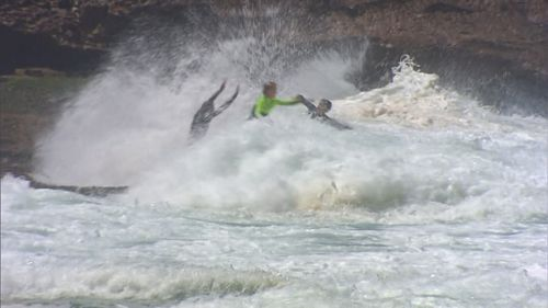 Huge surf battered beaches along the New South Wales North Coast. (9NEWS)
