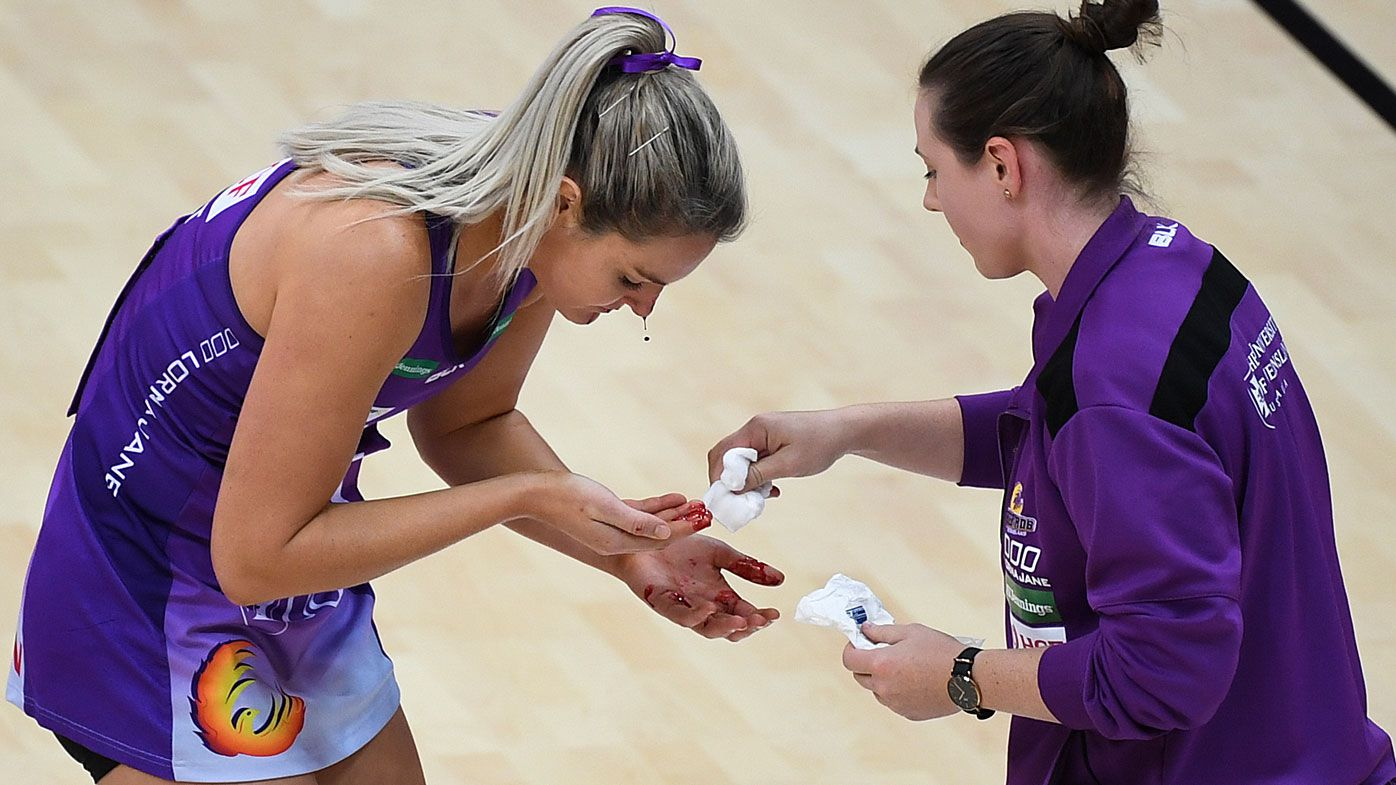 Gretel Tippett of the Firebirds injured during the Round 20 Super Netball match between the GWS Giants and the Queensland Firebirds