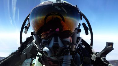 A Super Hornet Air Combat Officer mid flight, in the skies over Iraq. (Picture: ADF)