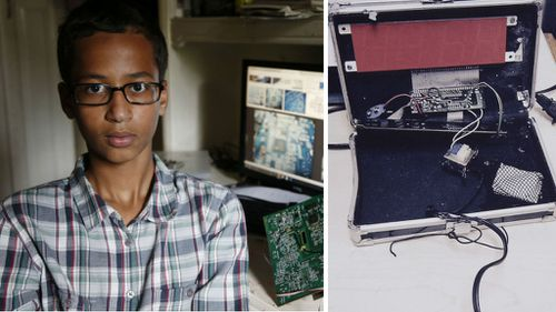 Irving MacArthur High School student Ahmed Mohamed, 14, with his homemade clock.