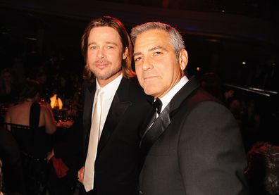 Brad Pitt and George Clooney attend the Critics' Choice Movie Awards in 2012.