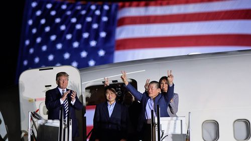 US President Donald Trump and First Lady Melania Trump welcome the freed trio as they return to the US. (AP).