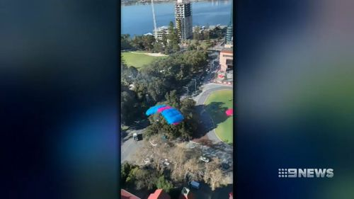 Four men base-jumped from a Perth building this morning.